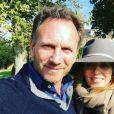 Geri Halliwell enceinte de son deuxième enfant, profite d'un week-end en famille à la campagne. Elle est accompagnée de son mari Christian Horner. Photo publiée sur Instagram à la fin du mois d'octobre 2016