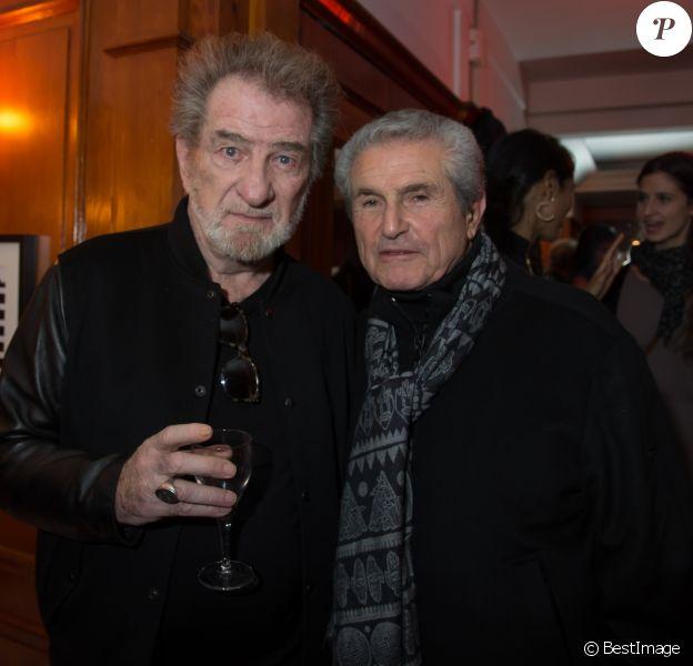 """Eddy Mitchell et Claude Lelouch - Soirée de l'avant première du film """"Un + Une"""" de Claude Lelouch au Club 13 à Paris le 23 novembre 2015."""