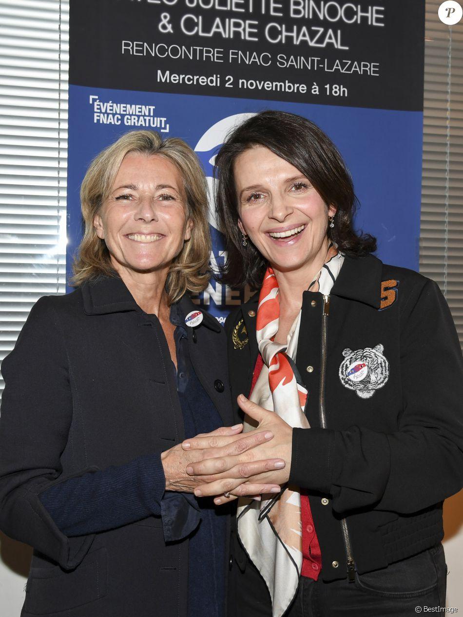 """Claire Chazal et Juliette Binoche participent à une rencontre organisée par le mouvement """"Fraternité Générale !"""" à la Fnac Saint-Lazare à Paris, le 2 novembre 2016. © Pierre Perusseau/Bestimage"""