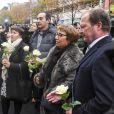 Illustration lors de l'hommage aux victimes des attentats du 13 novembre 2015 devant le Stade de France à Saint-Denis, le 13 novembre 2016.