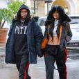 """""""Tyga et Kylie Jenner, habillés de joggings adidas (adidas Calabasas, par Kanye West) à Calabasas. Le 26 novembre 2016."""""""
