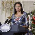 Michelle Obama reçoit à la Maison Blanche des enfants de militaires américains pour la remise de cadeaux annuelle. Washington, le 29 novembre 2016.