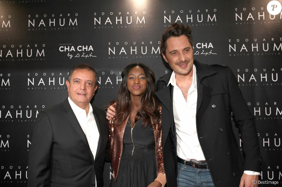 Edouard Nahum, Hapsatou Sy et son compagnon Vincent Cerutti à la soirée de présentation de la nouvelle collection Edouard Nahum au VIP Room à Paris, le 6 décembre 2016. © Didier Sabardin/Bestimage