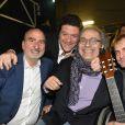 Exclusif - Deux anciens présidents de campagne de la Tsédaka Gil Taieb (2ème gauche ) et Solly Levy (gauche) avec l'acteur Frédéric Zeitoun et le guitariste d'Enrico Macias - Concert de solidarité de l'appel national pour la Tsédaka (Solidarité de la Communauté Juive de France envers les israélites et non israélites démunis) au Palais des Sports à Paris le 12 décembre 2016. Chaque année, l'Appel national pour la tsédaka mobilise dans un même élan de générosité, l'ensemble de la communauté juive de France pour soutenir des programmes sociaux. © Erez Lichtfeld/Bestimage