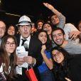 Exclusif - Le président de l'action sociale juive, le ' FSJU ' ( Fond Social Juif Unifié ) Mr Ariel Goldmann ( 2ème gauche ) et Yvan Attal ( centre ) avec les Etudiants Juifs de France ( UEJF ) - Concert de solidarité de l'appel national pour la Tsédaka (Solidarité de la Communauté Juive de France envers les israélites et non israélites démunis) au Palais des Sports à Paris le 12 décembre 2016. Chaque année, l'Appel national pour la tsédaka mobilise dans un même élan de générosité, l'ensemble de la communauté juive de France pour soutenir des programmes sociaux. © Erez Lichtfeld/Bestimage