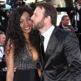 """Samuel Le Bihan et sa compagne Daniela Beye - Montée des marches du film """"Inside Out"""" (Vice-Versa) lors du 68 ème Festival International du Film de Cannes, à Cannes le 18 mai 2015."""