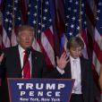 Donald Trump et son fils Barron - Le 45ème président des Etats-Unis, Donald Trump s'adresse à ses militants au New York Hilton Midtown dans les premières heures du matin à New New York le 9 novembre 2016.