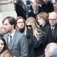William Marshall, Jessie-Lee Marshall, Sarah Marshall Peter-Morgan Marshall - Sorties des obsèques de Michèle Morgan en l'église Saint-Pierre de Neuilly-sur-Seine. Le 23 décembre 2016
