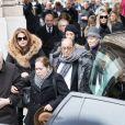 Paul Roussel, le frère de Michèle Morgan, Samantha Marshall, petite-fille de Michèle Morgan, Hélène, la soeur de Michèle Morgan - Sorties des obsèques de Michèle Morgan en l'église Saint-Pierre de Neuilly-sur-Seine. Le 23 décembre 2016