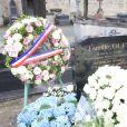 Obsèques de Michèle Morgan,enterrée au côté de son compagnon Gérard Oury, au cimetière du Montparnasse. Paris, le 23 décembre 2016.