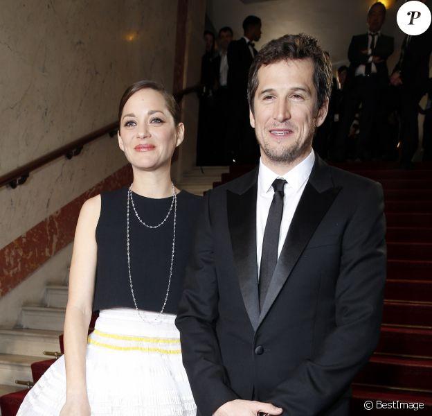Guillaume Canet et sa compagne Marion Cotillard - 40e cérémonie des Cesar au théâtre du Châtelet à Paris, le 20 février 2015.