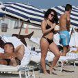Shera Kerienski (Blogueuse/YouTubeuse beauté) profite de la plage à Miami, Floride, Etats-Unis, le 14 décembre 2016.