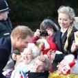 Le prince Harry à la messe de Noël avec la famille royale à l'église de Sandringham le 25 décembre 2016.