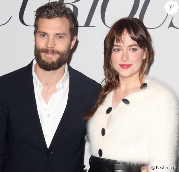 """Dakota Johnson, Jamie Dornan - Projection du film """"50 nuances de Grey"""" à New York. Le 6 février 2015"""