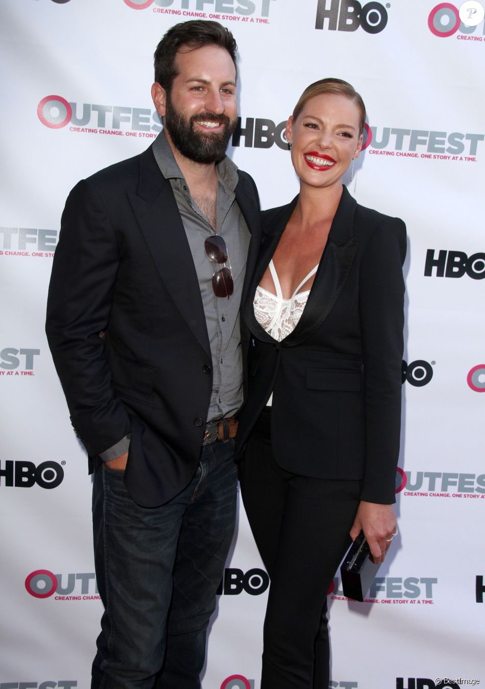 "Katherine Heigl et son mari Josh Kelley à la première de ""Jenny's wedding"" à West Hollywood, le 10 juillet 2015"