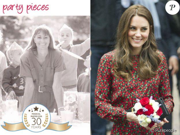 Carole Middleton à 34 ans en 1989 sur un flyer de sa société Party Pieces / Sa fille Catherine en décembre 2016 (photo BestImage) au même âge lors d'un événement Heads Together à Londres.