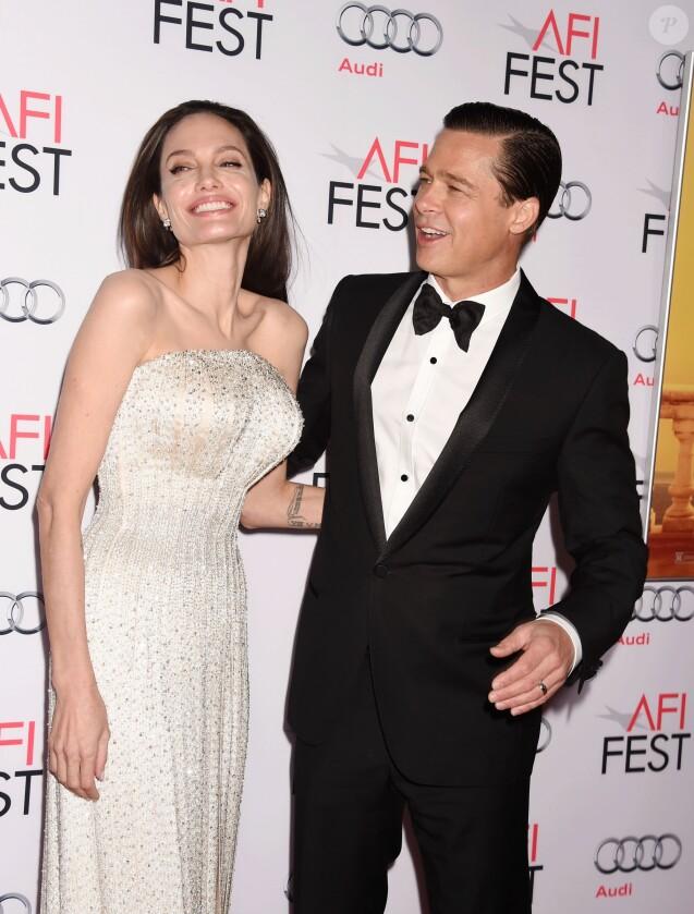 """Angelina Jolie et son mari Brad Pitt - Première de """"By the Sea"""" à Los Angeles le 5 novembre 2015 dans le cadre de l'Audi Opening Night Gala."""