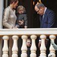 La princesse Charlene et le prince Albert II de Monaco au balcon du palais princier lors de la procession de la fête de sainte Dévote à Monaco le 27 janvier 2017. Le prince Jacques et la princesse Gabriella étaient avec eux. © Jean-Charles Vinaj/Pool restreint Monaco/Bestimage