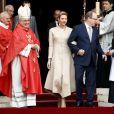 Le prince Albert II de Monaco et la princesse Charlene devant la cathédrale de Monaco au matin de la messe de la fête de sainte Dévote à Monaco, le 27 janvier 2017. © Olivier Huitel/Pool restreint Monaco/Bestimage