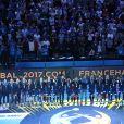 L'équipe de France de Handball célébre son titre mondial lors du match de finale du mondial de handball, France - Norvège à l'AccorHotels Arena à Paris, France, le 29 janvier 2017. La France remporte le match 33-26. L'équipe de France décroche son 6ème titre mondial. © Cyril Moreau/Bestimage  25th IHF Men's World Championship 2017 Final between France and Norway at Accorhotels Arena in Paris, France on January 29, 2017. France won 33-26 and the sixth handball world title.29/01/2017 - Paris