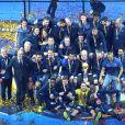 L'équipe de France de Handball célèbre son titre mondial avec la coupe du monde lors du match de finale du mondial de handball, France - Norvège à l'AccorHotels Arena à Paris, France, le 29 janvier 2017. La France remporte le match 33-26. L'équipe de France décroche son 6ème titre mondial. © Cyril Moreau/Bestimage