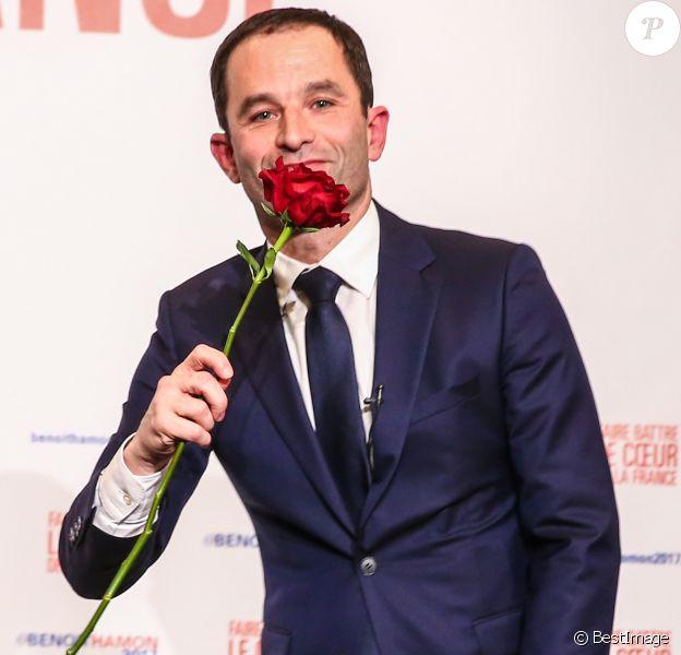 Benoît Hamon, vainqueur du second tour de la primaire à gauche à la Maison de la Mutualité à Paris le 29 janvier 2017.