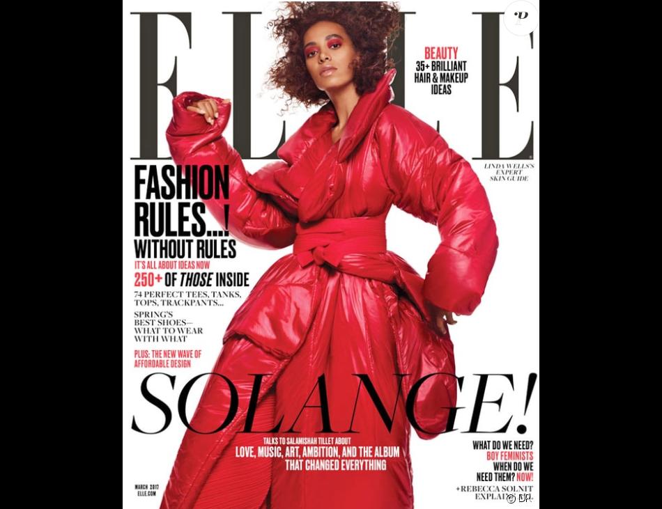 Solange Knowles en couverture du magazine Elle au mois de mars 2017