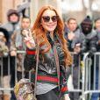 L'actrice Lindsay Lohan habillée en Gucci de la tête aux pieds à la sortie de The View' à New York, le 13 février 2017