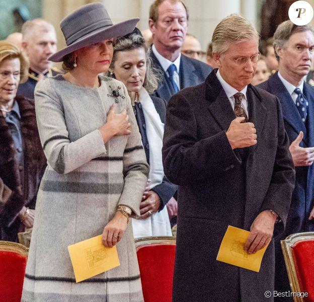 La reine Mathilde et le roi Philippe de Belgique - La famille royale de Belgique lors de la cérémonie de l'Eucharistie en mémoire des membres défunts de la famille royale à Bruxelles. Le 17 février 2017