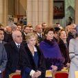 La princesse Margaretha de Luxembourg, la reine Mathilde et le roi Philippe de Belgique, la princesse Maria-Esméralda de Belgique et la princesse Léa de Belgique - La famille royale de Belgique lors de la cérémonie de l'Eucharistie en mémoire des membres défunts de la famille royale à Bruxelles. Le 17 février 2017