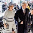 La reine Mathilde de Belgique, König Philippe - Arrivées de la famille royale de Belgique lors de la cérémonie de l'Eucharistie en mémoire des membres défunts de la famille royale à Bruxelles. Le 17 février 2017