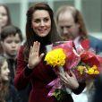 Kate Middleton, duchesse de Cambridge, en visite au Pays de Galles le 22 février 2017 pour son premier engagement en tant que marraine de l'association Action for Children, rôle qu'elle a hérité en décembre 2016 de la reine Elizabeth II.