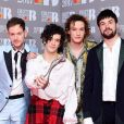 The 1975, Adam Hann, George Daniel, Ross MacDonald et Matthew Healy lors des BRIT Awards, à O2 Arena, Londres, le 22 février 2017.