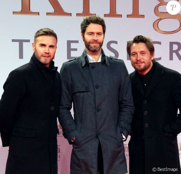 """Gary Barlow, Howard Donald et Mark Owen du groupe """"Take That"""" à la Première du film """"Kingsman : Services secrets"""" à Berlin. Le 3 février 2015"""