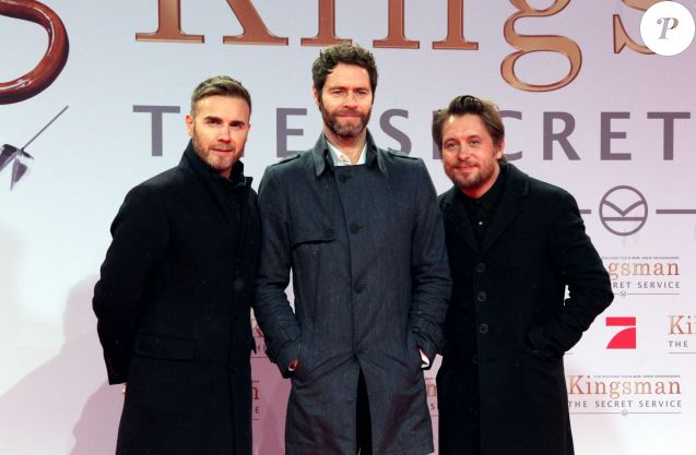 "Gary Barlow, Howard Donald et Mark Owen du groupe ""Take That"" à la Première du film ""Kingsman : Services secrets"" à Berlin. Le 3 février 2015"