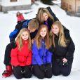 Le roi Willem-Alexander, la reine Maxima, la princesse Ariane, la princesse Alexia, la princesse Catharina-Amalia - Rendez-vous avec la famille royale des Pays-Bas à Lech. le 27 février 2017