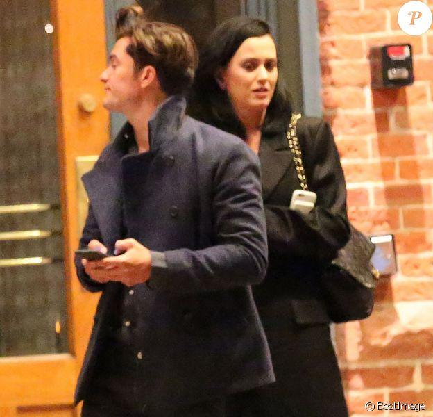 Exclusif - Prix spécial - Le couple Katy Perry et Orlando Bloom arrivent à leur hôtel 'Jerome' à Aspen dans le Colorado pour assister au mariage de leur amie la styliste Jamie Schneider.Le 8 avril 2016.