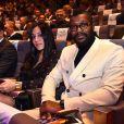 Djibril Cissé et sa compagne Marie-Cécile Lenzini - Cérémonie des Sportel Awards qui récompense les plus vidéos de sport et les plus beaux ouvrages illustrés par le sport, à Monaco, le 25 octobre 2016.
