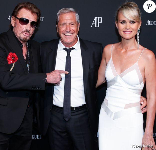 Exclusif - Johnny Hallyday et sa femme Laeticia Hallyday, Hoda Roche et son compagnon Jean-Claude Darmon - La maison Audemars Piguet a célébré le lancement de la nouvelle Millenary Femme au Carreau du Temple à Paris le 6 juillet 2015 .