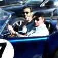 Johnny Hallyday quitte un restaurant de Malibu avec Maxim Nucci après avoir déjeuné avec le leader de Yodelice et sa femme Laeticia Hallyday. Los Angeles, le 9 mars 2017.