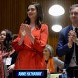 Anne Hathaway lors d'une conférence de presse de l'ONU Women à New York le 8 mars 2017.