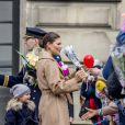 La princesse Victoria et la princesse Estelle - Céremonie en l'honneur de la princesse Victoria de Suède le jour de la Sainte Victoria au palais Royale à Stockholm le 12 mars 2017 12/03/2017 - Stockholm