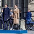 Céremonie en l'honneur de la princesse Victoria de Suède le jour de la Sainte Victoria au palais Royal en présence de son mari le prince Daniel de Suède et de la princesse Estelle à Stockholm le 12 mars 2017