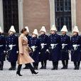 Céremonie en l'honneur de la princesse Victoria de Suède le jour de la Sainte Victoria au palais Royal en présence de son mari le prince Daniel de Suède et leurs enfants le prince Oscar et la princesse Estelle à Stockholm le 12 mars 2017 12/03/2017 - Stockholm