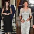La duchesse Catherine de Cambridge a brillé dans deux robes, l'une (à gauche) signée Alexander McQueen, l'autre (à droite) Jenny Packham, lors de la réception et du dîner organisés à l'ambassade de Grande-Bretagne à Paris le 17 mars 2017 en l'honneur de l'amitié franco-britannique dans le cadre de sa visite officielle de deux jours avec le prince William. Photomontage Purepeople.