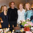 """Tristane Banon, Nikos Aliagas, Claire Verneil et Caroline Faindt lors de la soirée des """"Femmes de talent"""" à la boutique Apostrophe à Paris, France, le 21 mars 2017."""