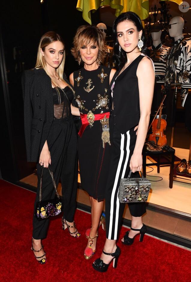 Lisa Rinna et ses filles Delilah Hamlin et Amelia Hamlinà la soirée Dolce & Gabbana organisée à Los Angeles, le 23 mars 2017