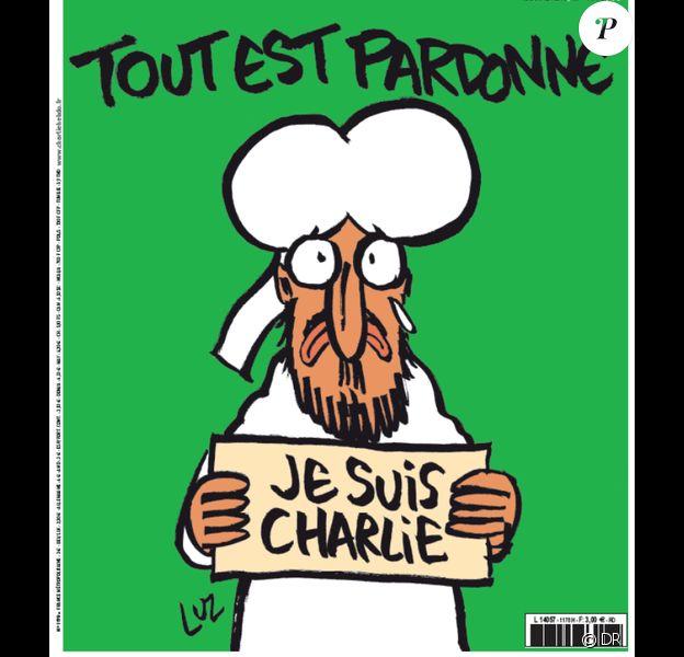 """Couverture du journal """"Charlie Hebdo"""" numéro 1178, préparé par les rescapés de l'attaque sanglante contre le journal satirique, sorti le 14 janvier 2015. Surnommé """"numéro des survivants"""", il a été publié à près de 8 millions d'exemplaires"""