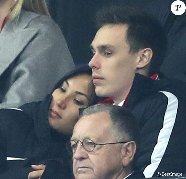Louis Ducruet et sa compagne Marie lors de la finale de la Coupe de la Ligue 2017 entre l'AS Monaco et le PSG, victorieux 4-1, au Parc OL à Lyon, le 1er avril 2017. © Cyril Moreau/Bestimage