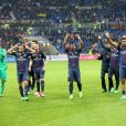 Les joueurs du PSG célébrant leur victoire (4-1) à l'issue de la finale de la Coupe de la Ligue 2017 contre l'AS Monaco au Parc OL à Lyon, le 1er avril 2017. © Cyril Moreau/Bestimage